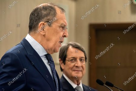 Russian Foreign Minister Sergei Lavrov (L) talks as the Cypriot President Nikos Anastasiades (R) looks on before their meeting at the presidential palace in Nicosia, Cyprus, 08 September 2020. Russian Foreign Minister Lavrov is on an official visit to Cyprus.