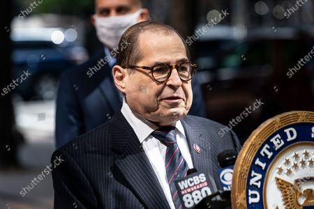 Stock Picture of Congressman Jerry Nadler speaks at US Senator Chuck Schumer and members of NY House delegation media briefing on 3rd avenue in Manhattan. U.S. Senator Charles Schumer announced he and others from the New York congressional delegation will not support any COVID relief bill that will not include aid for states and local authorities and for mass transit. Senator said that Heroes Act already passed by House with bipartisan support Is the benchmark for negotiations with Republicans.
