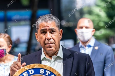 Congressman Adriano Espaillat speaks at US Senator Chuck Schumer and members of NY House delegation media briefing on 3rd avenue in Manhattan. U.S. Senator Charles Schumer announced he and others from the New York congressional delegation will not support any COVID relief bill that will not include aid for states and local authorities and for mass transit. Senator said that Heroes Act already passed by House with bipartisan support Is the benchmark for negotiations with Republicans.