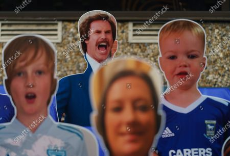 Ipswich Town fans pay for a curout of Will Ferrell / Ron Burgundy to be placed in the seats