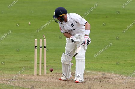 Ian Bell of Warwickshire is bowled out by Timm van der Gugten.