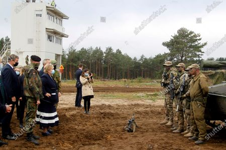 Norway's Prime Minister Erna Solberg (3rd L)  during her visit to Pabdrade Military base in Lithuania, 08 September 2020. Erna Solberg is on a one day visit to Lithuania.