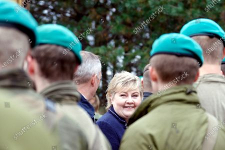 Norway's Prime Minister Erna Solberg smiles during her visit to Pabdrade Military base in Lithuania, 08 September 2020. Erna Solberg is on a one day visit to Lithuania.