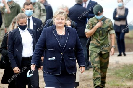 Norway's Prime Minister Erna Solberg during her visit to Pabdrade Military base in Lithuania, 08 September 2020. Erna Solberg is on a one day visit to Lithuania.
