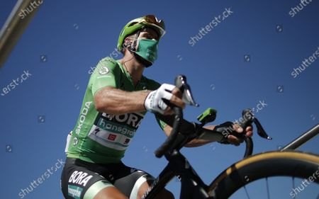 Slovak rider Peter Sagan of Bora-hansgrohe team wears the best sprinter's green jersey before the start of the 10th stage of the Tour de France over 168.5km from Le Chateau-d'Oleron on the Ile d'Oleron to Saint-Martin-de-Re on the Ile de Re, France, 08 September 2020.