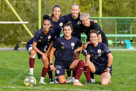 L-R # 27 Amira Arfaoui (Servette), # 10 Marie Duclos (Servette), # 22 Thais Hurni (Servette). From top left: # 9 Alyssa Lagonia (Servette), # 4 Laura Felber (Servette), Fanny Keizer (Servette)
