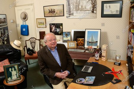 John Sergeant 'My Haven'-Home office in West London 14.10.2019 1. Wedding photo with Mary 2.Photo of his Children 3.Strictly shoes. 4. Photo The Maggie / Paris / Ingham incident.. Panama hats (worn in documentaries) 5/Red Arrow model. 6. John and Alan Bennett's On the Margin BBC Audiobook CD 7.Cartoon of John & Maggie Thatcher 8. Family Bible & Parents Home father was in the church 9. Russian Painting from parents 10.Bottle of Whiskey with picture of John on it. 11.Tutankhamun Book 12.Photo of John in Samoa 13.John's Book/CD 14.Photo outside N10