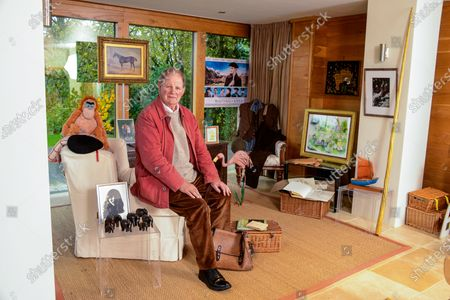 Michael Morpurgo 'My Haven' - Writing Room of his Devon Home 22.11.2019 Photo of Clare MM kept with him all his Army days. (Clare talk him out of staying in the Army and going to raise pigs on the farm. MM would have come a Brigadier if he'd stayed) Elephants from a Nun who fell in love with MM (he has a lot of elderly lady admirers) Photo Clare with NT War Horse when it came to the village. Picture by Judith Kerr she gave to MM when had Cancer MM War Horse costume he wears on stage Painting of 'Top Thorn' The Real War Horse that inspired the book 'Waiting for Anya' movie poster Farm  Picture by Gerald Scarf (Farms for City Children link) Photo Farms for City Children Pink Flamingo model (Flamingo Boy book) His trademark red jacket and black beret (story behind these) Poems by Ted Hughes Turtle from daughter Ros Orangutang from publisher Re: 'Runnuing Wild' Boat from Scilly Isles Narwhale Tusk (made of plastic) Book MM won at school when he was 6 yrs old Large Wooden Truck from Clare's Dad dated 1666