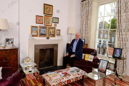 """Nicholas Coleridge 'My Haven'-living room of his London Home 20.11.20191.Indian miniature painting of a Maharaja on the wall. It was the first of 100 Indian paintings collected by NC. This one was a fake. I've got my eye in now, 30 years later!2. A photograph of NC and his wife Georgia at the launch party of Vogue India in Jodhpur in 2007. 3000 guests came to the party.3. An Ethiopian Christian Cross bought in Lalibela in Ethiopia. The family had been on a trekking holiday.4. A Taj Mahal box, bought in Agra, inlaid with mother of Pearl. It is surprisingly beautiful, for a tourist piece.5. A silver """"tombstone"""" memorial, to commemorate Fashion Rocks, the 2003 rock and fashion extravaganza at the Albert Hall, put on by NC for the Prince of Wales Prince's Trust Charity. Starring Beyoncé,Robbie Williams and every top rock and fashion star.6. An Iranian paper knife, bought in Isfahan, on a Coleridge family holiday. It is exquisitely decorated.7. A photograph of Georgia on her wedding day in 1989, in a silver frame, surrounded by her bridesmaids and pages. It is full of joy and life.8. The Glossy Years book & A copy of How I Met My Wife9. Nicholas Coleridge's 2018 British Media Award """"Outstanding Contribution to British Media""""10. A photo of Nicholas as Aladdin Sane, produced by the GQ team as a gift"""