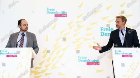Russian dissident Vladimir Kara-Murza (L) speaks next to Free Democratic Party (FDP) chairman and faction chairman in the German parliament Bundestag Christian Lindner (R), during a press statement prior to a faction meeting at the German parliament Bundestag in Berlin, Germany, 08 September 2020. German Free Democratic Party (FDP) invited Russian dissident Vladimir Kara-Murza to their faction meeting on the occasion of the medical treatment of Russian opposition activist Alexei Navalny at the Charite hospital in Berlin.