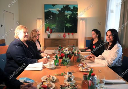 Norway's Prime Minister Erna Solberg (L) and Belarus' opposition leader Svetlana Tikhanovskaya (R) talk to each other during their meeting at the Norwegian embassy in Vilnius, Lithuania, 08 September 2020. Erna Solberg is on a one day visit to Lithuania. Tikhanovskaya fled to Lithuania with her family following the Belarus presidential elections in which results claimed a landslide victory for president Lukashenko while opposition parties claim they were rigged. It was reported 07 Seprtember that Tikhanovskaya's fellow opposition campaigner Maria Kolesnikova, a representative of non-registered presidential candidate Victor Babariko, Kolesnikova has been detained by unidentified persons in Minsk.