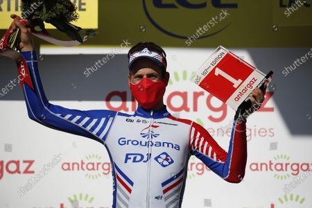 Swiss rider Stefan Kueng of Groupama-FDJ team celebrates on the podium with his most combative rider award following the 10th stage of the Tour de France over 168.5km from Le Chateau-d'Oleron on the Ile d'Oleron to Saint-Martin-de-Re on the Ile de Re, France, 08 September 2020.