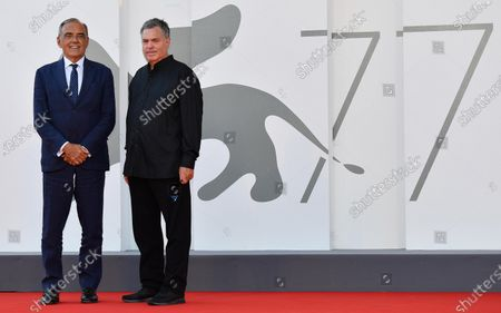 Amos Gitai (R) and  Festival Director Alberto Barbera (L) arrive for the premiere of 'Laila in Haifa' during the 77th Venice Film Festival in Venice, Italy, 08 September 2020. The movie is presented in the official competition 'Venezia 77' at the festival running from 02 to 12 September.