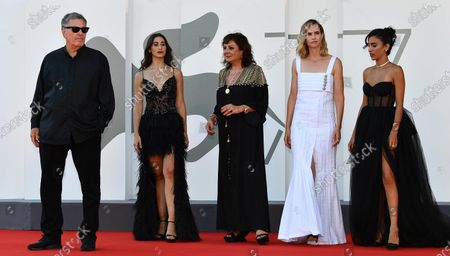 Amos Gitai, Israeli actresses Maria Zreikat, Hana Laszlo, Naama Preis and Bahira Ablassi arrive for the premiere of 'Laila in Haifa' during the 77th Venice Film Festival in Venice, Italy, 08 September 2020. The movie is presented in the official competition 'Venezia 77' at the festival running from 02 to 12 September.