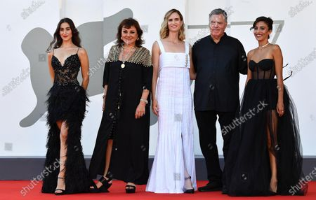 Stock Image of Israeli actresses Maria Zreikat, Hana Laszlo, Naama Preis, Israeli filmmaker Amos Gitai and Israeli actress Bahira Ablassi arrive for the premiere of 'Laila in Haifa' during the 77th Venice Film Festival in Venice, Italy, 08 September 2020. The movie is presented in the official competition 'Venezia 77' at the festival running from 02 to 12 September.