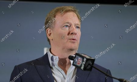 """Commissioner Roger Goodell speaks during a news conference in Miami. """"The NFL stands with the Black community, the players, clubs and fans,"""" NFL Goodell said last week. """"Confronting recent systemic racism with tangible and productive steps is absolutely essential. We will not relent in our work"""