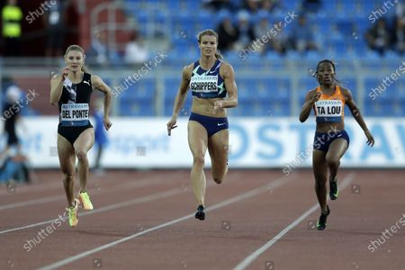 Dafne Schippers of the Netherlands, center, competes in 150 meters at the Golden Spike athletic meeting in Ostrava, Czech Republic