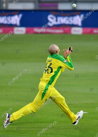 Australia's Ashton Agar prepares to take the catch to o dismiss England's Jonny Bairstow during the third Twenty20 cricket match between England and Australia, at the Ageas Bowl in Southampton, England