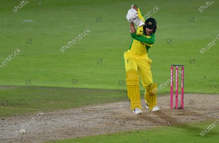 Australia's Ashton Agar plays a shot during the third Twenty20 cricket match between England and Australia, at the Ageas Bowl in Southampton, England