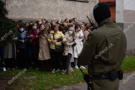 Belarus women, opposition activists resist the police attempt to detain them, as they gathered to support their current leader Maria Kolesnikova, in Minsk, Belarus, 08 September 2020. According to media reports citing eyewitnesses and fellow campaign members, Kolesnikova was detained by unidentified persons in Minsk on 07 September and taken to the border with Ukraine early 08 September to be deported, which she reportedly refused by ripping up her passport. The Belarusian State Border Committee confirmed the detention of Maria Kolesnikova on the border.