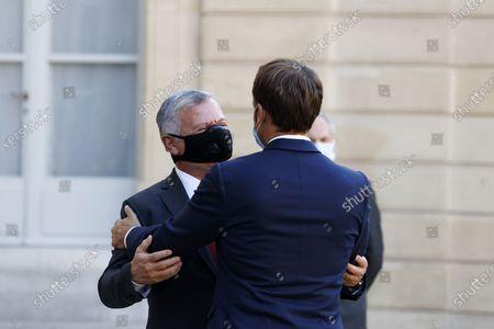French President Emmanuel Macron (R) greets Jordan's King Abdullah II (L) upon his arrival at the Elysee Palace in Paris, France, 08 September 2020.