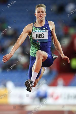 Max Hess of Germany in action during the men's Triple Jump at the 2020 Golden Spike Ostrava athletics meeting as part of the World Athletics Continental Tour in Ostrava, Czech Republic, 08 September 2020.