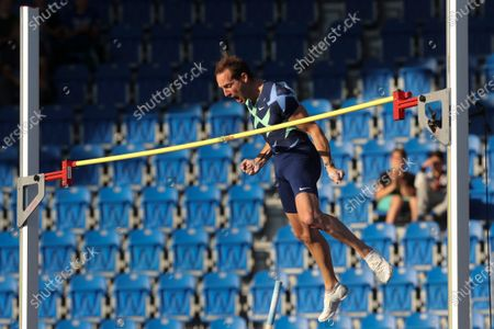 Renaud Lavillenie of France in action during the men's Pole Vault at the 2020 Golden Spike Ostrava athletics meeting as part of the World Athletics Continental Tour in Ostrava, Czech Republic, 08 September 2020.