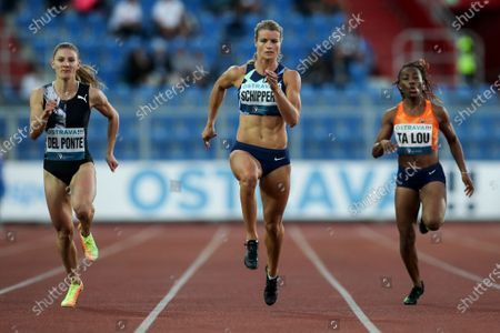 Dafne Schippers (C) of the Netherlands in action during the women's 150m race at the 2020 Golden Spike Ostrava athletics meeting as part of the World Athletics Continental Tour in Ostrava, Czech Republic, 08 September 2020.