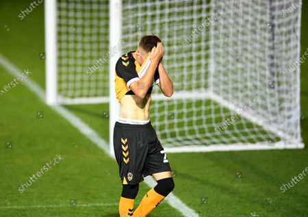 Stock Photo of Lewis Collins of Newport County at the end of the game.