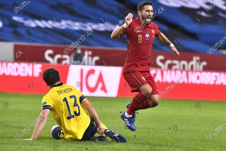 Sweden's Gustav Svensson fouls Joao Moutinho and is sent off after getting his second yellow card during the UEFA Nations League, division A, group 3 soccer game betwween Sweden and Portugal at Friends Arena in Stockholm, Sweden, 08 September 2020.