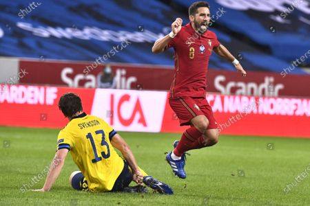 Sweden's Gustav Svensson fouls Joao Moutinho and is sent off during the UEFA Nations League, division A, group 3 soccer game betwween Sweden and Portugal at Friends Arena
