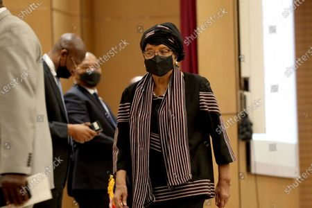 Former Liberia president, Ellen Johnson Sirleaf (R) arrives during the official opening of the Anti-Gender Based Violence National conference at the Ministerial Complex conference hall in Monrovia, Liberia, 08 September 2020. The Liberian government along with civil society organizations, traditional leaders, women, youths advocacy groupings, and international partners hold two national conference to find a road map, to adequately address the high increase in rape cases in  Liberia. The conference came about as a result of series of mass anti-rape streets protest last August  throughout the country. According to reports, due to challenges such as corruption, institutional weaknesses, due to financial and logistical constraints, perpetrators enjoy the widespread culture of impunity of rape and sodomy against women, girls, and boys in Liberia.