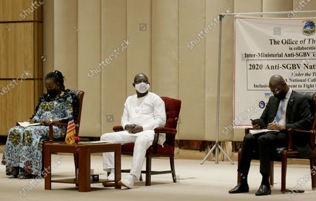 Liberian president, George Weah (C), First lady, Clar  M. Weah(L), and Bhofal Chambers (R) Speaker of House of Representative  attend the official opening  of the Anti-Gender Based Violence National conference at the Ministerial Complex conference hall in Monrovia, Liberia, 08 September 2020. The Liberian government along with civil society organizations, traditional leaders, women, youths advocacy groupings, and international partners hold two national conference to find a road map, to adequately address the high increase in rape cases in  Liberia. The conference came about as a result of series of mass anti-rape streets protest last August  throughout the country. According to reports, due to challenges such as corruption, institutional weaknesses, due to financial and logistical constraints, perpetrators enjoy the widespread culture of impunity of rape and sodomy against women, girls, and boys in Liberia.