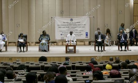 Liberian president, George Weah (C), and former president, Ellen Johnson Sirleaf (2-L), First lady, Clar  M. Weah (3-L), Bhofal Chambers (2-R), Speaker of House of Representative, and Albert Chie (R),  Senate President Pro-tempore attend the official opening  of the Anti-Gender Based Violence National conference at the Ministerial Complex conference hall in Monrovia, Liberia, 08 September 2020. The Liberian government along with civil society organizations, traditional leaders, women, youths advocacy groupings, and international partners hold two national conference to find a road map, to adequately address the high increase in rape cases in  Liberia. The conference came about as a result of series of mass anti-rape streets protest last August  throughout the country. According to reports, due to challenges such as corruption, institutional weaknesses, due to financial and logistical constraints, perpetrators enjoy the widespread culture of impunity of rape and sodomy against women, girls, and boys in Liberia.