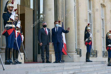 Stock Image of French President Emmanuel Macron receives King Abdullah II of Jordan at the Elysee Palace.