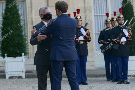 Stock Picture of French President Emmanuel Macron receives King Abdullah II of Jordan at the Elysee Palace.