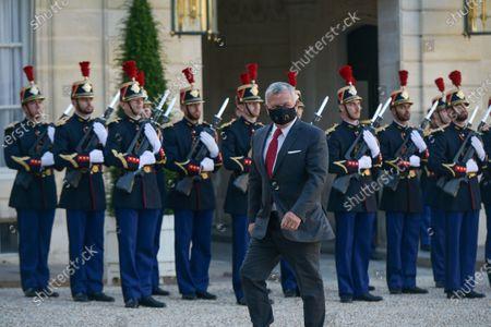 French President Emmanuel Macron receives King Abdullah II of Jordan at the Elysee Palace.