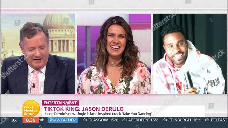 Stock Image of Piers Morgan, Susanna Reid and Jason Derulo