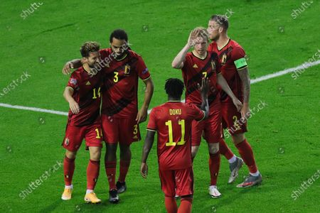 Belgium's Dries Mertens, Jason Denayer, Jeremy Doku, Kevin De Bruyne and Toby Alderweireld (L to R) celebrate a goal during the UEFA Nations League football match between Belgium and Iceland at the King Baudouin Stadium in Brussels, Belgium, Sept. 8, 2020. Belgium won 5-1.
