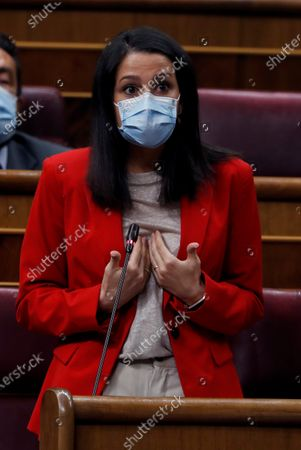 Citizens Party leader Ines Arrimadas speaks during the control session at the Lower Chamber of Spanish Parliament in Madrid, Spain, 09 September 2020.
