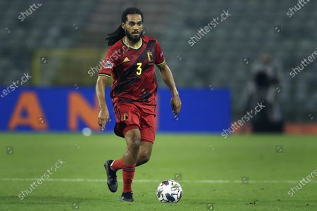 Belgium's Jason Denayer plays the ball during the UEFA Nations League soccer match between Belgium and Iceland, at the King Baudouin stadium in Brussels