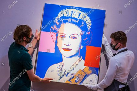 Prints & Multiples: Modern to Pop Online 10 - 22 September, Queen Elizabeth II, from: Reigning Queens (Royal Edition) screenprint in colours with diamond dust, 1985, numbered R13/30, with the artist's copyright stamp verso, Estimate: £100,000-150,000 - Christie's London preview of multiple sales of artworks from the 20th Century.