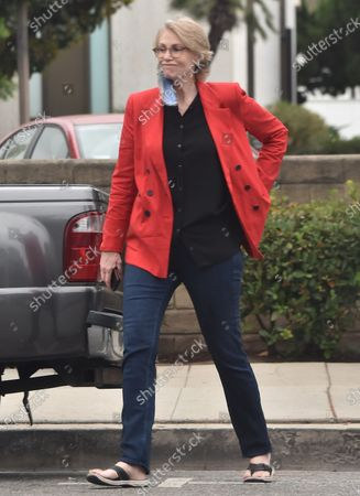 Stock Photo of Jane Lynch runs errands in a red blazer