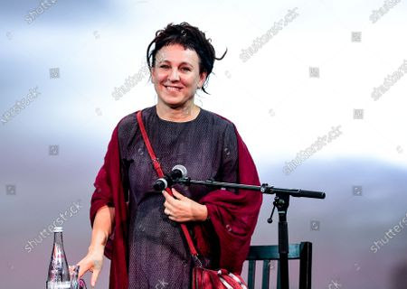 Stock Picture of Literature Nobel Prize Laureate Olga Tokarczuk of Poland smiles during the opening of the 20th Literature Festival in Berlin, Germany, 09 September 2020. The Literature Festival is running from 09 to 19 September 2020.