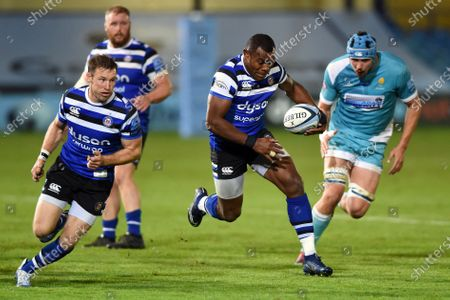 Semesa Rokoduguni of Bath Rugby goes on the attack
