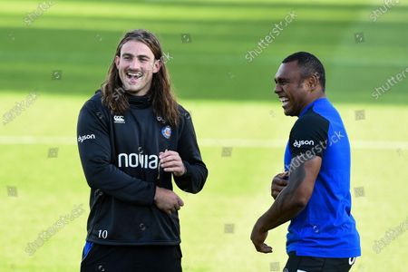 Max Clark and Semesa Rokoduguni of Bath Rugby look on prior to the match