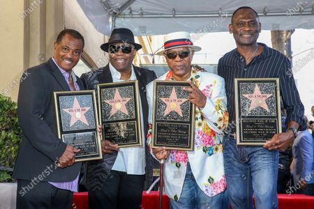 "Robert ""Kool"" Bell, from left, Ronald ""Khalis"" Bell, Dennis ""DT"" Thomas and George Brown attend a ceremony honoring Kool & The Gang with a star on The Hollywood Walk of Fame, in Los Angeles. Ronald ""Khalis"" Bell, a co-founder and singer in the group, has died. He was 68. Publicist Sujata Murthy says Bell died at his home in the U.S. Virgin Islands with his wife by his side. The cause of death has not been released"