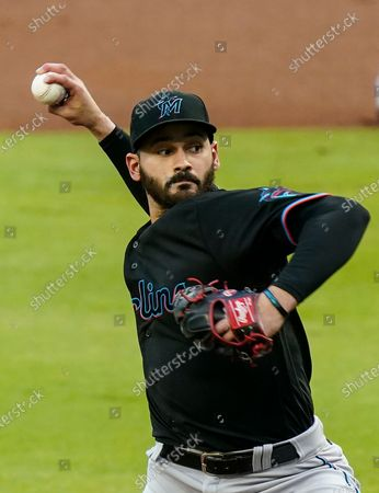 Miami Marlins starting pitcher Pablo Lopez delivers in the first inning of the team's baseball game against the Atlanta Braves, in Atlanta