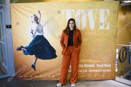 Stock Photo of Tove is an upcoming biographic film on the life of beloved artist Tove Jansson, mother of the Moomin figures and also a talented painter . In picture actress Krista Kosonen, who plays the role of director Vivica Bandler inTove.Picture taken in Helsinki on Sept. 9th,2020.