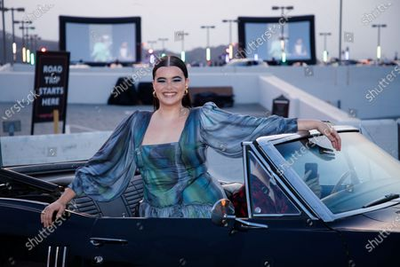 Stock Photo of Barbie Ferreira poses during arrivals for the drive-in premiere of the HBO Max movie 'Unpregnant' in Glendale, California USA, 09 September 2020. The event took place on a rooftop parking lot.